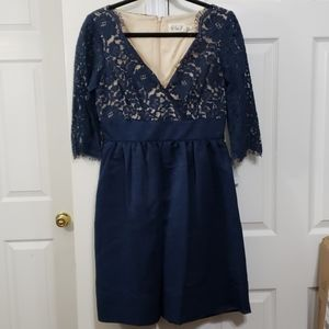 Eliza j lace dress blue 3/4 sleeve